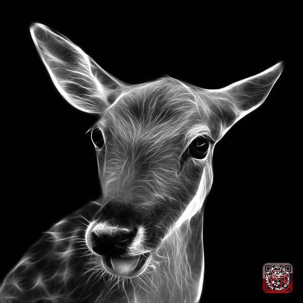 Digital Art - Greyscale Deer - 0401 F by James Ahn