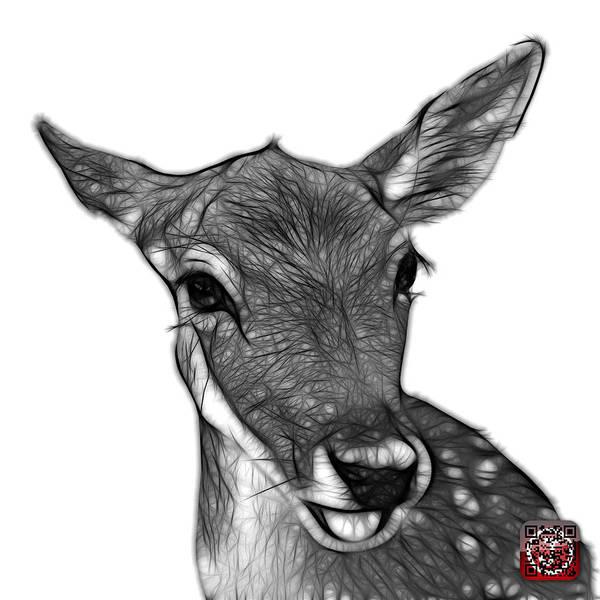 Digital Art - Greyscale Deer - 0401 Fs by James Ahn