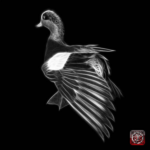 Mixed Media - Greyscale Fractal Wigeon 7702 - Bb by James Ahn