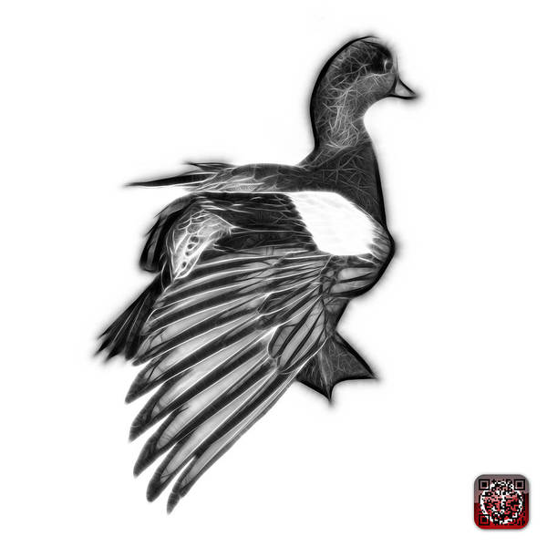 Mixed Media - Greyscale Fractal Wigeon 7702 - Wb by James Ahn