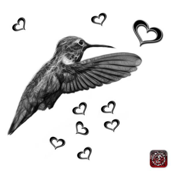 Digital Art - Greyscale Hummingbird - 2055 F S M by James Ahn