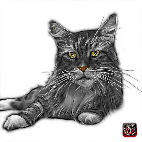 Painting - Greyscale Maine Coon Cat - 3926 - Wb by James Ahn