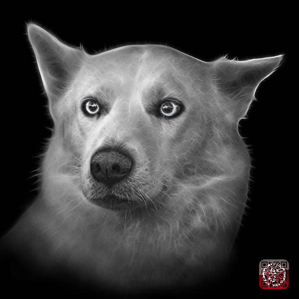 Greyscale Mila - Siberian Husky - 2103 - Bb Art Print