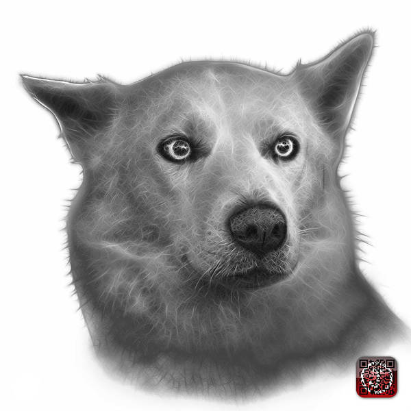 Painting - Greyscale Mila - Siberian Husky - 2103 - Wb by James Ahn