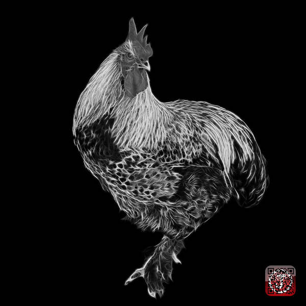 Painting - Greyscale Rooster 3166 F by James Ahn