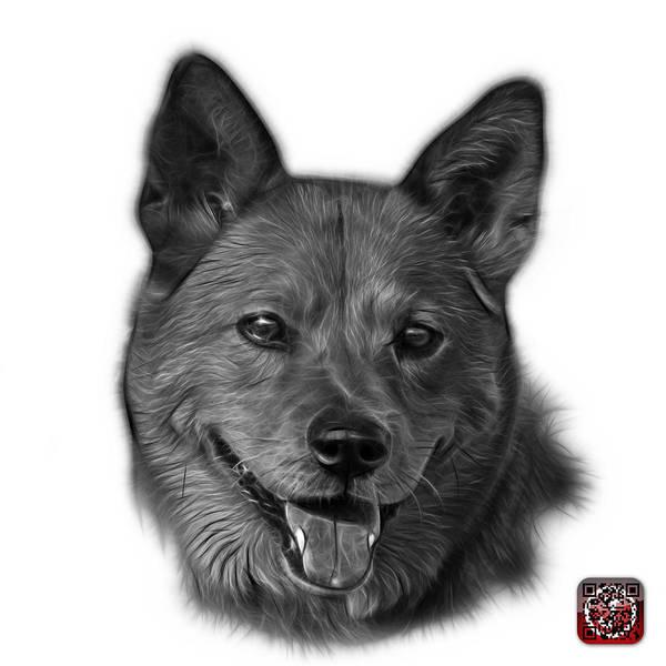 Mixed Media - Greyscale Shiba Inu Dog Art - 8555 - Wb by James Ahn