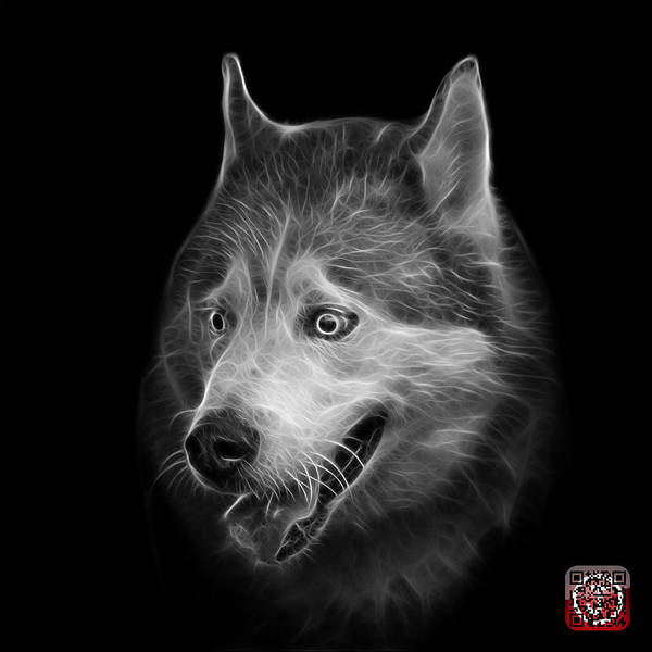 Painting - Greyscale Siberian Husky Dog Art - 6062 - Bb by James Ahn