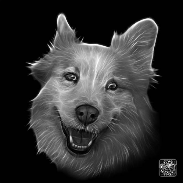 Painting - Greyscale Siberian Husky Mix Dog Pop Art - 5060 Bb by James Ahn