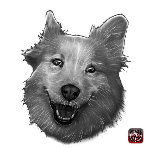Painting - Greyscale Siberian Husky Mix Dog Pop Art - 5060 Wb by James Ahn