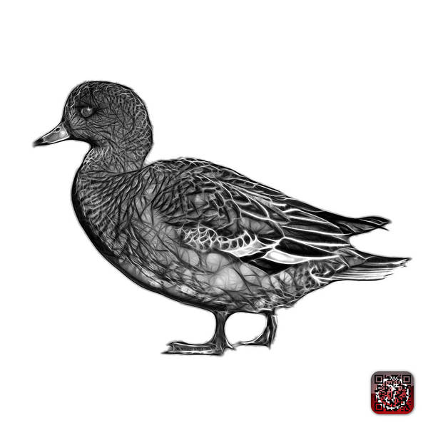 Mixed Media - Greyscale Wigeon Art - 7415 - Wb by James Ahn