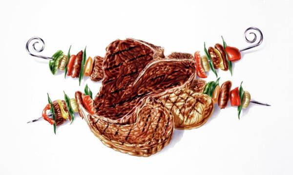 Barbeque Photograph - Grilled Meat by Leonello Calvetti/science Photo Library
