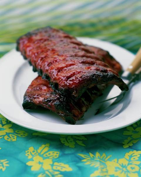 Meat Photograph - Grilled Ribs On A White Plate by Romulo Yanes