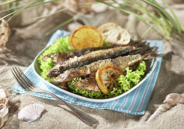 Lemon Photograph - Grilled Sardines With Salad And Lemon by Westend61