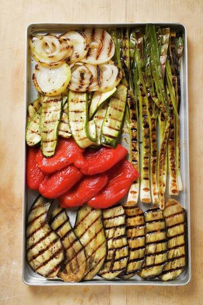 Cucurbits Photograph - Grilled Vegetables In Roasting Tin by Foodcollection