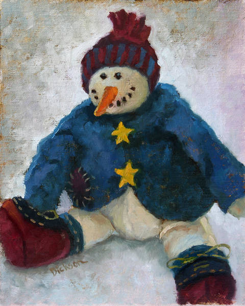 Painting - Grinning Snowman by Jeff Dickson