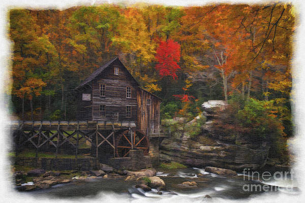 Photograph - Grist Mill At Babcock State Park Watercolor Borders Paintography by Dan Friend