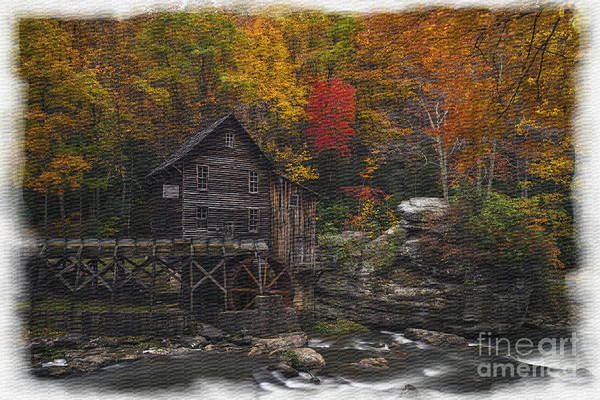 Photograph - Grist Mill Babcock State Park Textured With Watercolor Borders by Dan Friend