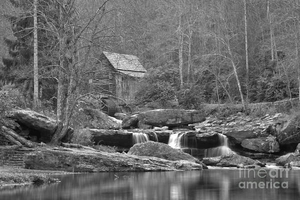 Photograph - Grist Mill On Glade Creek Black And White by Adam Jewell