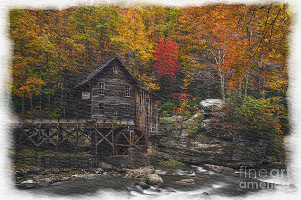 Photograph - Grist Mill On Glade Creek Watercolor Borders by Dan Friend