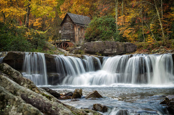 Unframed Wall Art - Photograph - Grist Mill With Vibrant Fall Colors by Lori Coleman