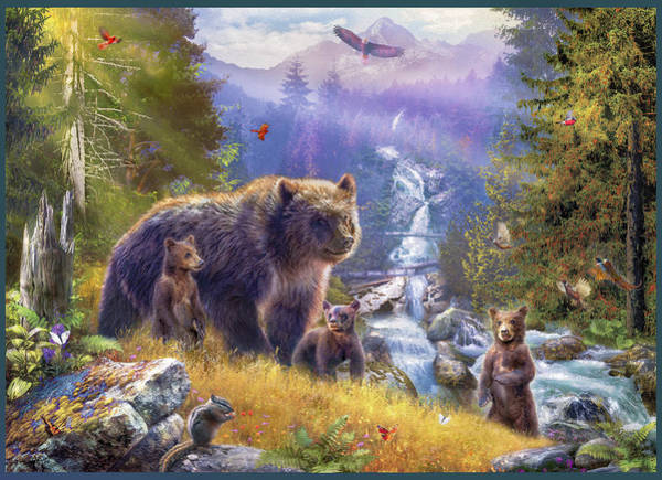 Wall Art - Drawing - Grizzlies by MGL Meiklejohn Graphics Licensing