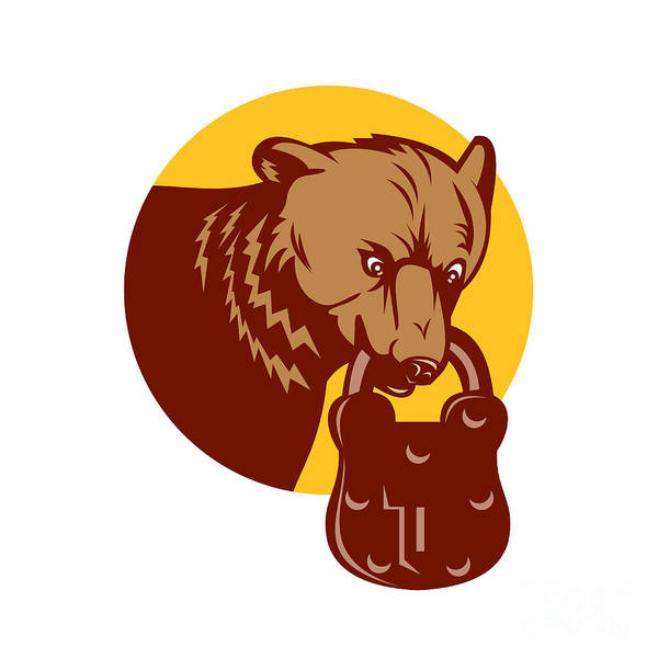 Grizzly Bears Digital Art - Grizzly Bear Biting Padlock Circle Retro by Aloysius Patrimonio