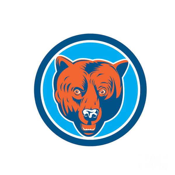 Grizzly Bears Digital Art - Grizzly Bear Head Front Circle Retro by Aloysius Patrimonio