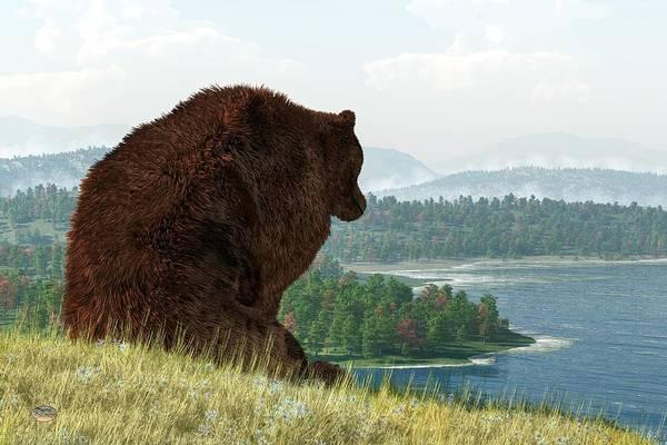 Digital Art - Grizzly Bear Lake by Daniel Eskridge