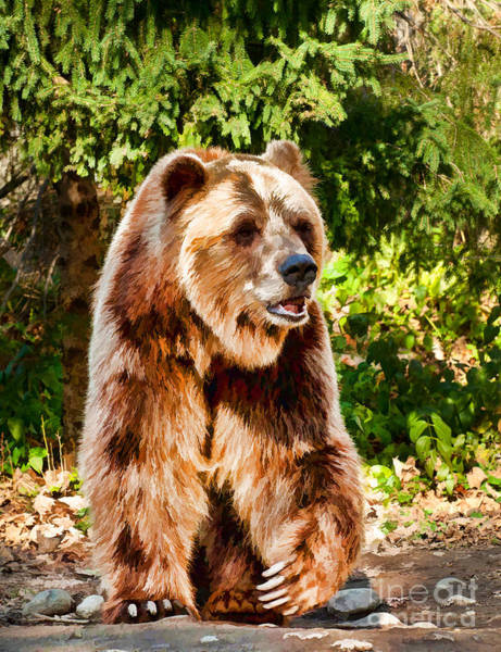 Photograph - Grizzly Bear - Painterly by Les Palenik