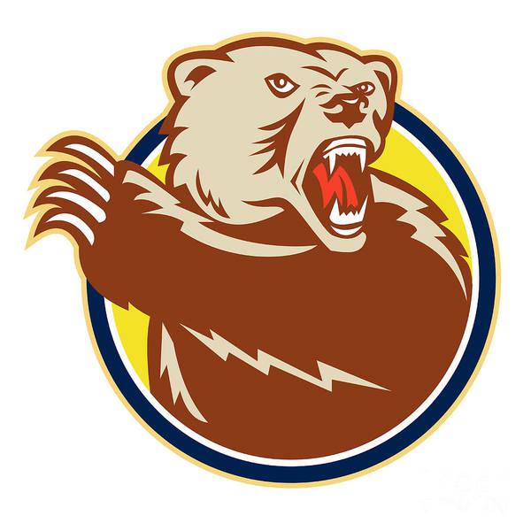 Grizzly Bears Digital Art - Grizzly Bear Swiping Paw Retro by Aloysius Patrimonio