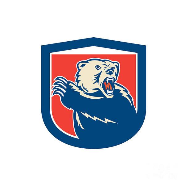 Grizzly Bears Digital Art - Grizzly Bear Swiping Paw Shield Retro by Aloysius Patrimonio
