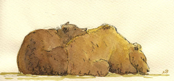 Big Painting - Grizzly Bears by Juan  Bosco