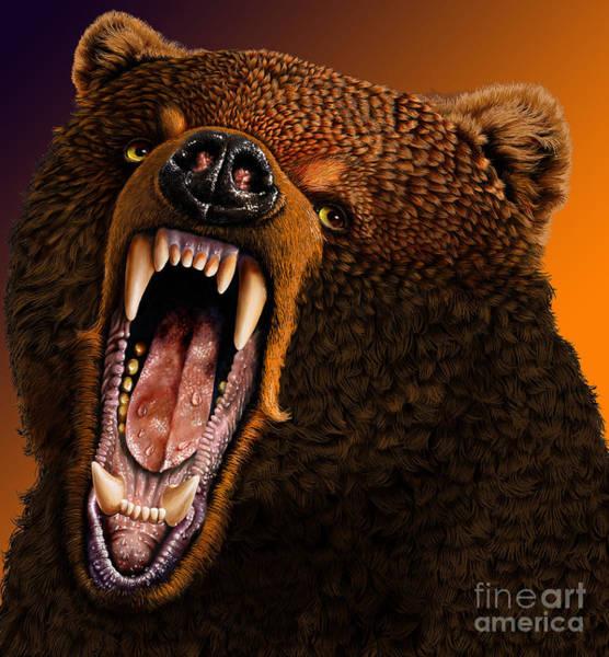 Grizzly Bears Digital Art - Grizzly by Jurek Zamoyski