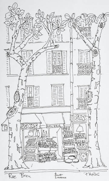 Ink Sketch Photograph - Grocery Store Along Rue Brea, Paris by Richard Lawrence