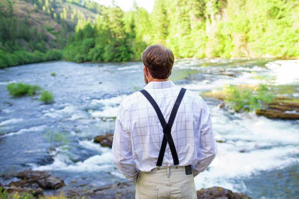 Vows Photograph - Groom On Bank Of North Umpqua River by Joshua Rainey