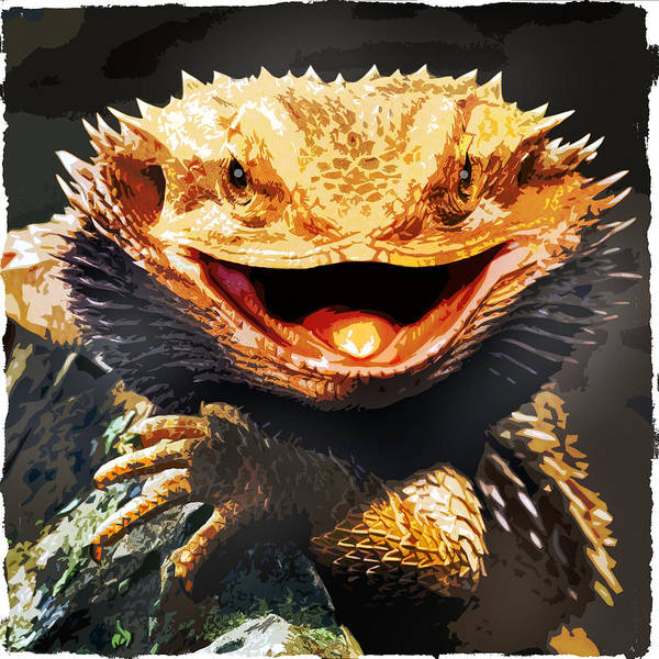 Ugly Painting - Grotesque Bearded Dragon Lizard by Elaine Plesser