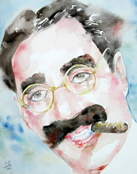 Brothers Painting - Groucho Marx Watercolor Portrait.2 by Fabrizio Cassetta