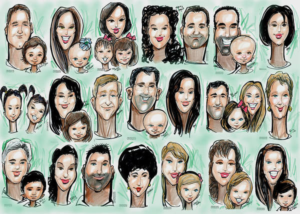 Digital Art - Group From Party Caricatures by Kevin Middleton