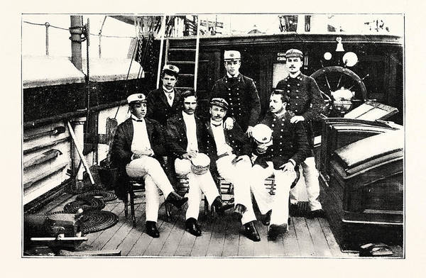 Wall Art - Drawing - Group Of Chilian Officers On Board A Man Of War by English School