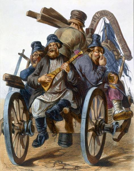Cart Drawing - Group Of Drunken Peasant Men Singing by Rudolf Jukowsky