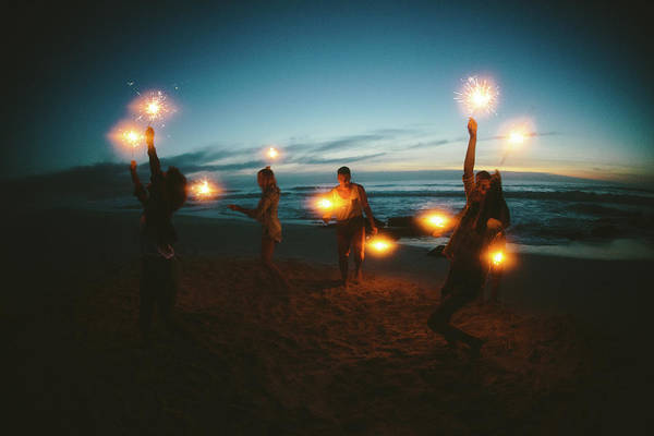 Dancing Water Photograph - Group Of Friends With Fireworks by Wundervisuals