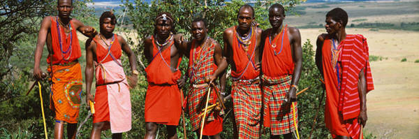 Maasai Photograph - Group Of Maasai People Standing Side by Panoramic Images