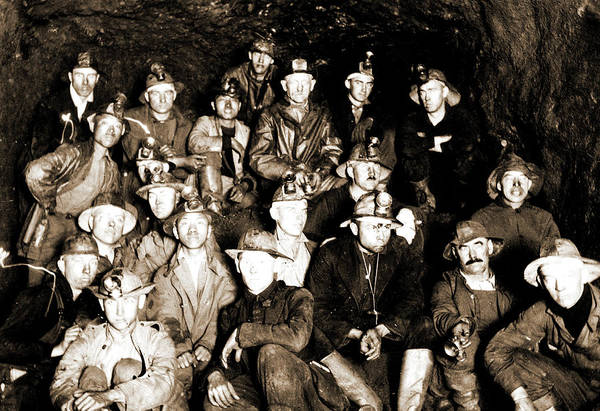 Wall Art - Drawing - Group Of Miners Underground, Miners by Litz Collection