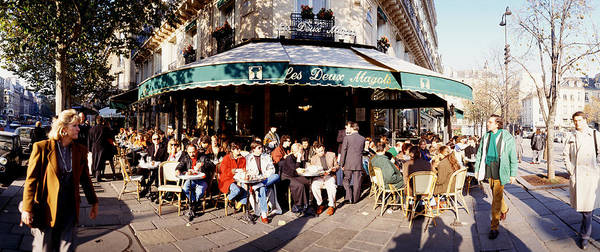 Sidewalk Cafe Photograph - Group Of People At A Sidewalk Cafe, Les by Panoramic Images