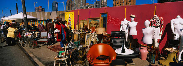 Hells Kitchen Wall Art - Photograph - Group Of People In A Flea Market, Hells by Panoramic Images