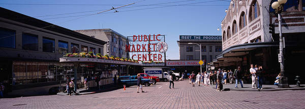 Pikes Place Photograph - Group Of People In A Market, Pike Place by Panoramic Images