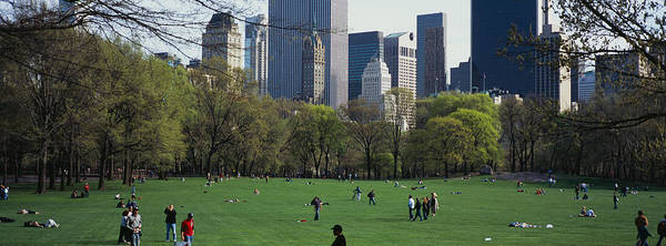 Wall Art - Photograph - Group Of People In A Park, Central by Panoramic Images