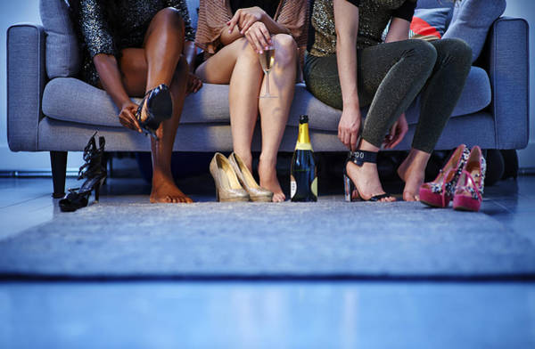 Group Of Women Putting On Heels Before Night Out Art Print by Mike Harrington