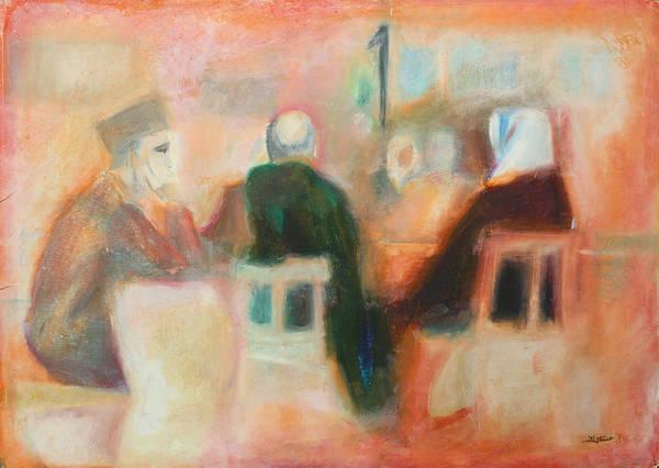 Pastel - Group Playing Backgammon by Mamoun Sakkal