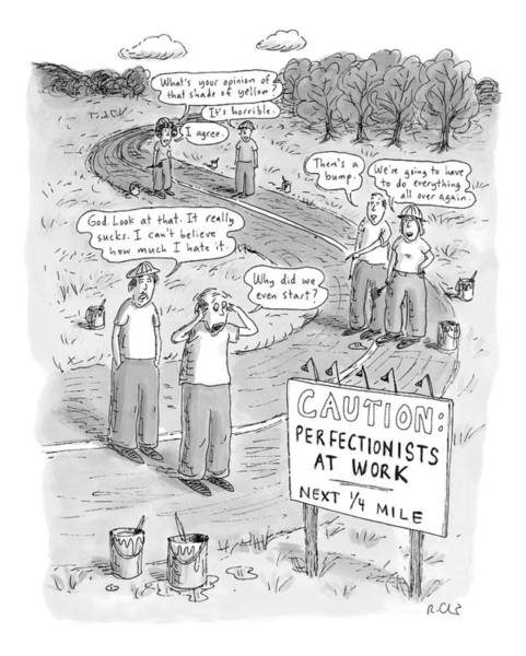 Shaded Drawing - Groups Of Construction Workers Paralyzed by Roz Chast